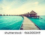 beautiful tropical maldives... | Shutterstock . vector #466300349