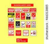 elevator safety signs design... | Shutterstock .eps vector #466313885