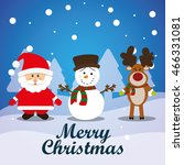 merry christmas card and icons... | Shutterstock .eps vector #466331081