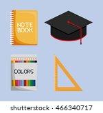 notebook graduation cap colors... | Shutterstock .eps vector #466340717