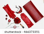 flat lay feminine red clothes... | Shutterstock . vector #466373351