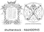 graphic gothic set with devil... | Shutterstock . vector #466400945