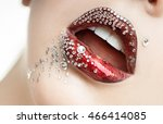 bright female lips with red... | Shutterstock . vector #466414085