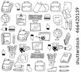 many object school doodles... | Shutterstock .eps vector #466420139