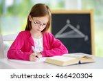 smart little schoolgirl with... | Shutterstock . vector #466420304