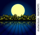 style cartoon night city... | Shutterstock .eps vector #466436591