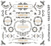 set of vintage decorations... | Shutterstock .eps vector #466437689