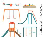 kids playground flat cartoon... | Shutterstock .eps vector #466449965