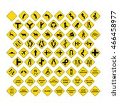 big set of yellow road signs... | Shutterstock .eps vector #466458977