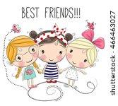 Three Cute Cartoon Girls On A...