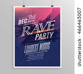 rave party music flyer template | Shutterstock .eps vector #466465007