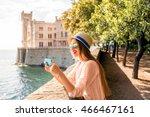 young woman having fun... | Shutterstock . vector #466467161
