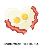 fried egg and bacon in heart... | Shutterstock .eps vector #466483715