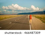 hitch hiker woman on the... | Shutterstock . vector #466487309