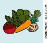 tomato  peas  broccoli  carrot  ... | Shutterstock .eps vector #466510625