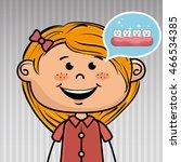 smiling cartoon girl wearing... | Shutterstock .eps vector #466534385
