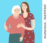 lovely cartoon grandmother and... | Shutterstock .eps vector #466545365
