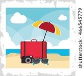 bag umbrella glasses camera... | Shutterstock .eps vector #466545779