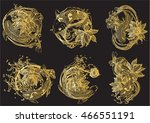 set vector painting lotus and... | Shutterstock .eps vector #466551191