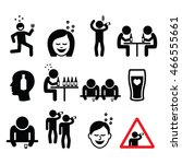 drunk man and woman  people... | Shutterstock .eps vector #466555661