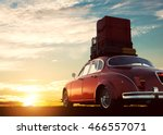 retro red car with luggage on... | Shutterstock . vector #466557071
