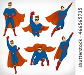 superhero in action  icon set... | Shutterstock .eps vector #466565735