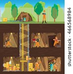 workers working in the mine at... | Shutterstock .eps vector #466568984