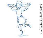 happy young girl dancing and... | Shutterstock .eps vector #466576199