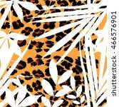 vector tropical summer print.... | Shutterstock .eps vector #466576901