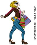 Cartoon Of A Fashionable Woman...