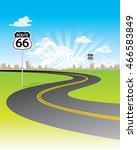 curve road with route 66 sign... | Shutterstock .eps vector #466583849