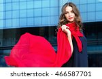 autumn. happy woman with a... | Shutterstock . vector #466587701