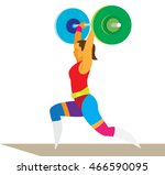 young woman weightlifter raises ... | Shutterstock .eps vector #466590095