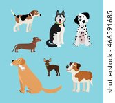 vector cartoon happy dogs set.... | Shutterstock .eps vector #466591685