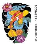 hand drawn koi fish tattoo  | Shutterstock .eps vector #466598201