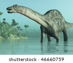 3D render depicting a Dicraeosaurus dinosaur in a tropical setting. - stock photo