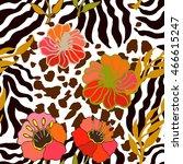 tropical paradise seamless... | Shutterstock .eps vector #466615247