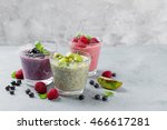 chia seed pudding with various... | Shutterstock . vector #466617281
