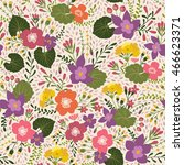 seamless pattern with floral... | Shutterstock .eps vector #466623371