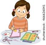 illustration of a little girl... | Shutterstock .eps vector #466626041