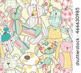 cute rag toys vector seamless... | Shutterstock .eps vector #466630985