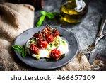 caprese salad with baked... | Shutterstock . vector #466657109