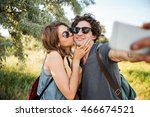 young smiling happy couple with ... | Shutterstock . vector #466674521