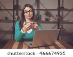 freelancer is working with... | Shutterstock . vector #466674935
