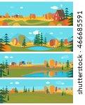 vector set   autumn. horizontal ... | Shutterstock .eps vector #466685591