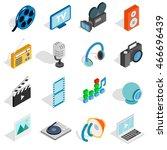 isometric media icons set....