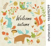autumn forest background with... | Shutterstock .eps vector #466698299