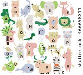 zoo alphabet with cute animals... | Shutterstock .eps vector #466698311