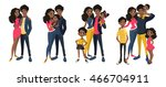 family set  with mom  dad  kids.... | Shutterstock .eps vector #466704911