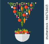 fresh vegetables salad vector... | Shutterstock .eps vector #466712615